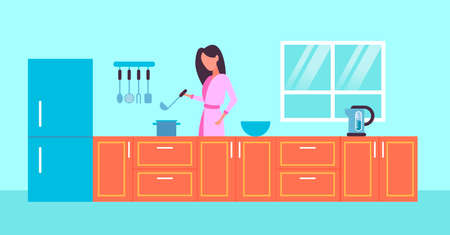 housewife holding spoon woman cooking food concept modern kitchen interior horizontal portrait flat vector illustration