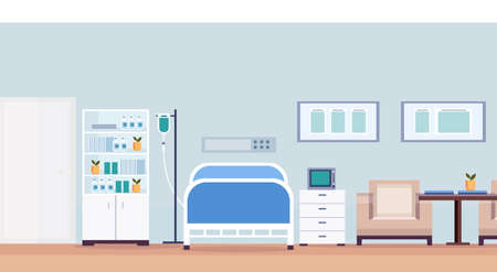 hospital room interior intensive therapy patient ward with medical tools nursing care bed empty no people modern clinic furniture horizontal vector illustration