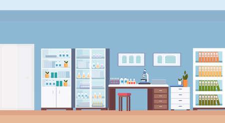 szpital laboratorium naukowiec miejsce pracy meble biurowe pusty nie ma ludzi klinika medyczna laboratorium wnętrze poziome płaskie wektor ilustracja