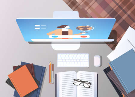 university student workplace elearning online education concept top angle view desktop with books and computer monitor office stuff vector illustration Illustration