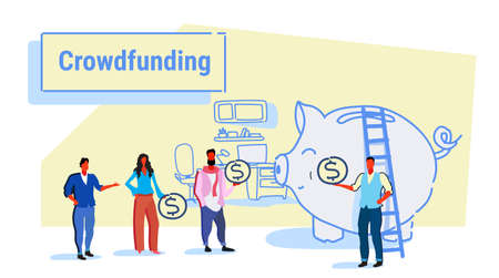 businesspeople group investment money investor crowdfunding concept business people investing dollar coins piggy bank crowd funding office interior sketch horizontal vector illustration