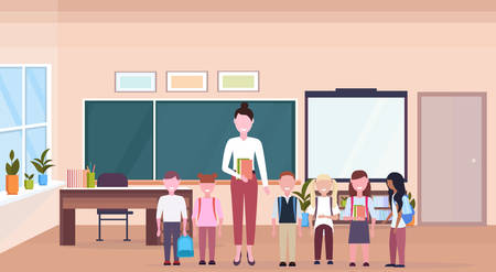 woman teacher with mix race pupils standing in modern school classroom interior chalk board desk cartoon characters full length horizontal banner flat vector illustration Illustration
