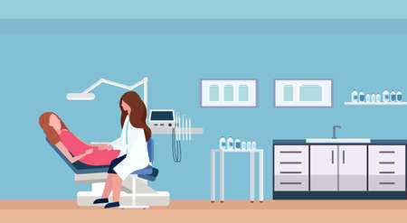 female dentist doctor examining woman patient lying in dentistry chair professional dental office modern clinic interior female characters full length flat horizontal vector illustration