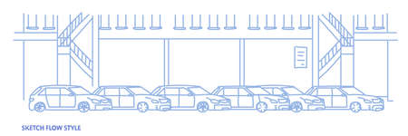 cars dealership center showroom building interior with exhibition of new modern vehicles sketch flow style horizontal banner vector illustration