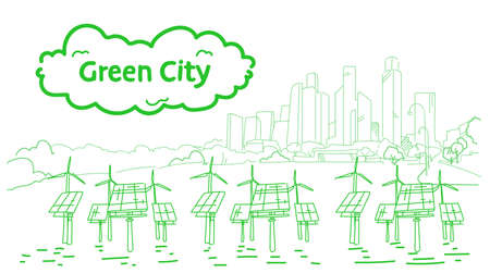 modern eco city with wind turbines and solar panels green energy concept skyscraper cityscape background sketch flow style horizontal vector illustration Ilustrace