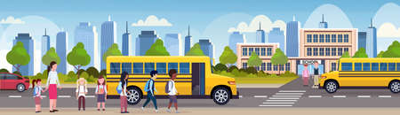 group of mix race children walking in yellow bus in front of school building exterior back to school pupils transport concept cityscape background flat horizontal banner vector illustration