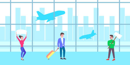man woman people holding meeting placard empty signboard in airport waiting hall departure arrival terminal interior full length flat horizontal vector illustration