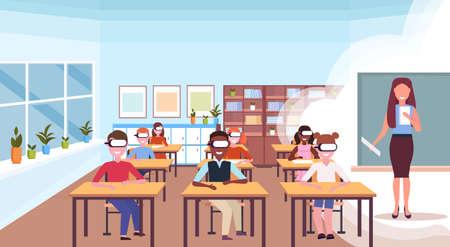 mélanger race élèves assis bureaux portant des lunettes numériques réalité virtuelle femme enseignant livre de lecture casque vision éducation concept école moderne salle de classe intérieur horizontal plat illustration vectorielle