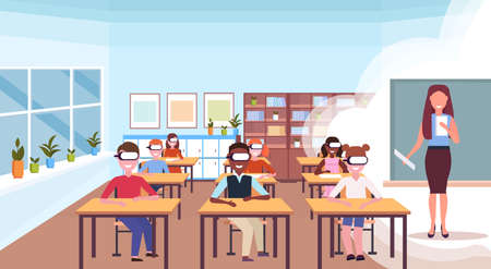 mix race pupils sitting desks wearing digital glasses virtual reality woman teacher reading book headset vision education concept modern school classroom interior horizontal flat vector illustration