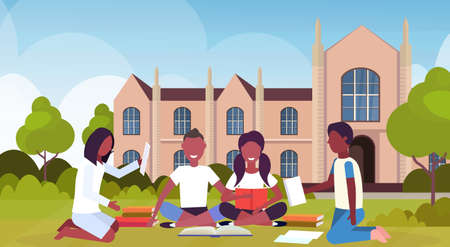 african students group sitting on grass at campus yard in front of modern national university building exterior people preparing exam graduation education concept flat horizontal vector illustration Illustration