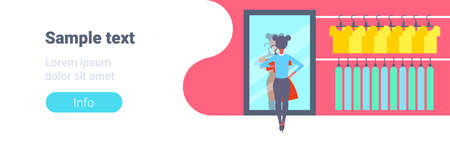 girl trying on new dress elegant woman looking at mirror fashion shop female clothes market modern shopping mall interior flat horizontal banner copy space full length flat vector illustration Illustration