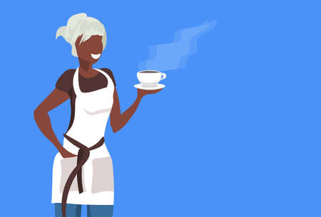 african american saleswoman or waitress wearing apron holding coffee happy woman professional occupation concept female cartoon character portrait flat blue background vector illustration Illustration