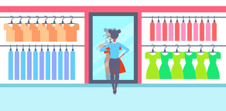 girl trying on new dress elegant woman looking at mirror fashion shop female clothes market modern shopping mall interior flat horizontal full length flat vector illustration