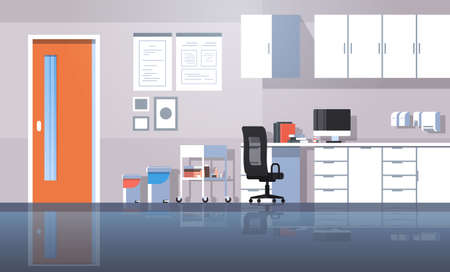 professional dentist workplace furniture dental room cabinet tooth care concept modern clinic office interior flat horizontal vector illustration Illustration