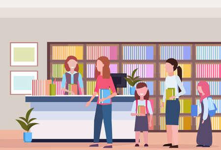 mensen in de rij die boeken lenen van bibliothecaris moderne bibliotheek boekhandel interieur boekenkast met boeken lezen onderwijs kennis concept vlakke horizontale vectorillustratie