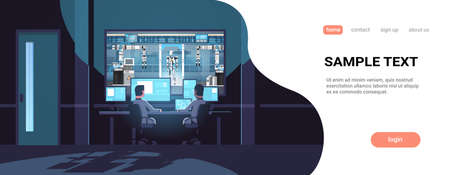 two engineers looking at monitors behind glass robot production factory robotic industry artificial intelligence dark office interior surveillance security system copy space horizontal vector illustration