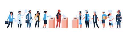 concept du jour de l'élection différentes professions électeurs votant au bureau de vote pendant le vote mix race personnes mettant le bulletin de vote en papier dans la boîte illustration vectorielle de bannière horizontale plate pleine longueur