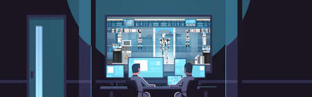 two engineers looking at monitors behind glass robot production modern factory robotic industry artificial intelligence dark office interior surveillance security system flat horizontal vector illustration