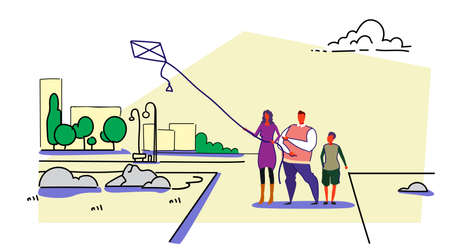 happy family launching kite city urban park landscape cityscape background parents and son playing wind toy having fun holiday relax concept sketch doodle horizontal vector illustration