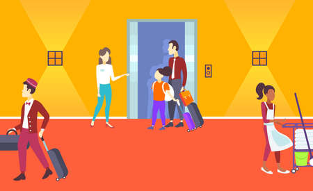 manager receptionist welcoming father daughter arriving tourists standing near elevator doors service staff concept modern hotel interior horizontal full length flat vector illustration 스톡 콘텐츠 - 124510814