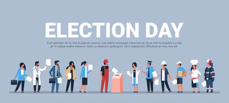 concept du jour de l'élection différentes professions électeurs votant au bureau de vote pendant le vote mix race personnes mettant le bulletin de vote papier dans la boîte pleine longueur plate horizontale copie espace illustration vectorielle