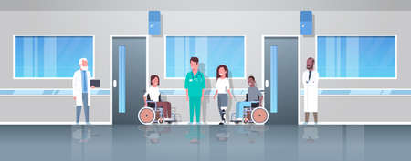 doctors taking care of disabled injured people mix race patients sitting in wheelchair woman with prosthetic leg disability concept hospital corridor clinic interior full length vector illustration Illustration