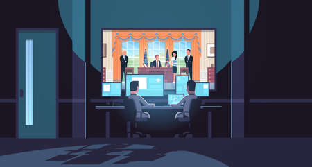 two men looking at monitors behind glass president sitting workplace signing low act document white house dark office interior surveillance security system flat horizontal vector illustration Ilustração