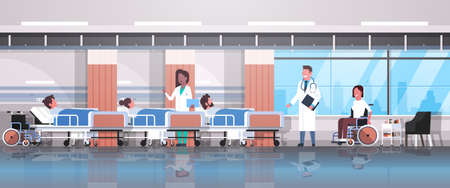 doctors team visiting disabled mix race patients sitting wheelchair lying bed intensive therapy ward healthcare concept hospital clinic room interior horizontal vector illustration  イラスト・ベクター素材