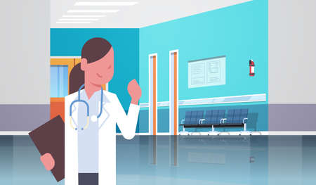 female doctor with stethoscope and clipboard standing in hospital clinic corridor consultation and diagnosis healthcare concept horizontal portrait flat vector illustration