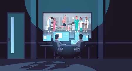 two men looking at monitors behind glass doctors group checking patient running on treadmill cardiology science dark office interior surveillance security system flat horizontal vector illustration Vektoros illusztráció