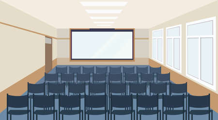modern meeting conference presentation room interior with blue chairs and blank screen lecture seminar hall large sitting capacity empty no people horizontal vector illustration
