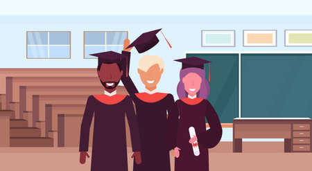 group of mix race students in gown and caps standing together auditorium lecture hall theater room interior modern university classroom education concept portrait horizontal vector illustration Ilustração