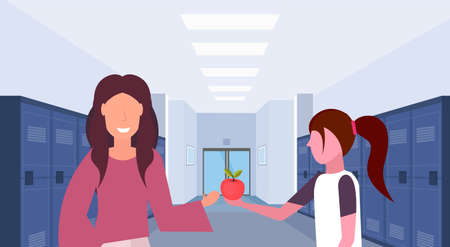 schoolgirl giving apple to woman teacher in school lobby corridor interior with rows of blue lockers education concept horizontal portrait flat vector illustration