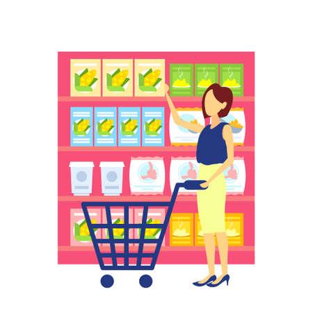 woman customer carrying trolley cart choosing food big grocery shop supermarket interior girl buyer super market shopping concept full length flat vector illustration