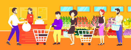 people customers with trolley carts standing line queue to cashier in retail store supermarket interior concept big grocery shopping center horizontal banner flat full length vector illustration Illustration