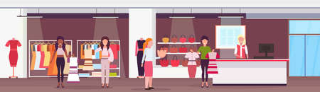 mix race women customers choosing dresses and handbags fashion boutique big shop female clothes shopping mall interior cartoon characters full length flat horizontal vector illustration