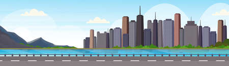 asphalt highway road over beautiful river mountain city panorama high skyscrapers cityscape background skyline flat horizontal banner vector illustration