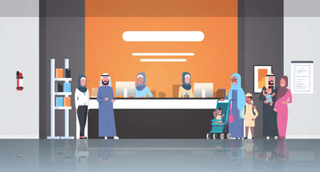 arabic patients in hijab standing line queue at hospital reception desk medical doctors consultation healthcare concept waiting hall clinic interior full length horizontal flat vector illustration  イラスト・ベクター素材