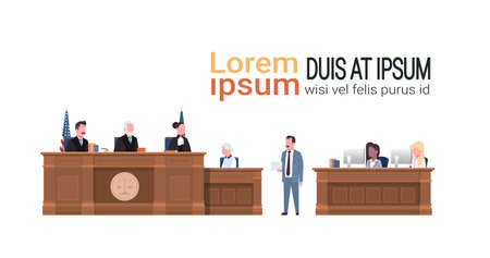 law process with judge secretary suspect and lawyer or attorney giving a speech court session white background copy space horizontal vector illustration