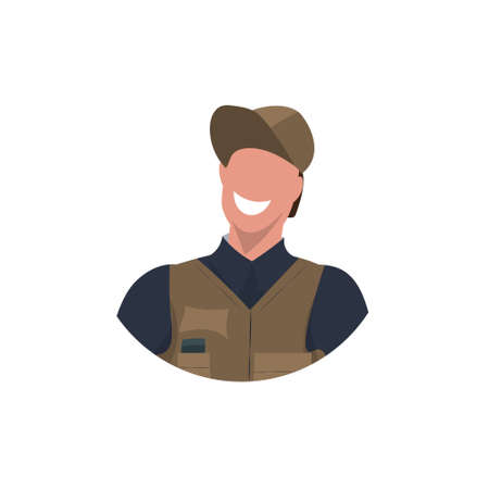 male master or repairman face avatar mechanic repair service worker professional occupation concept happy man in uniform cartoon character portrait flat white background vector illustration