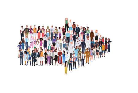 mieszać rasę ludzie grupa inny zawód stojący razem w kształcie strzałki wskazującej kierunek koncepcja mężczyzna żeński pracownicy pełnej długości poziomy baner płaskie białe tło wektor ilustracja Ilustracje wektorowe
