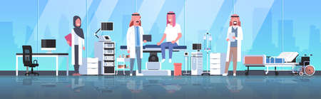 arabic doctors team visiting disabled man patient in hijab sitting on operation table healthcare concept hospital room interior modern equipment medical clinic horizontal full length vector illustration
