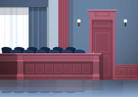 empty jury box seats modern courtroom interior justice and jurisprudence concept horizontal vector illustration