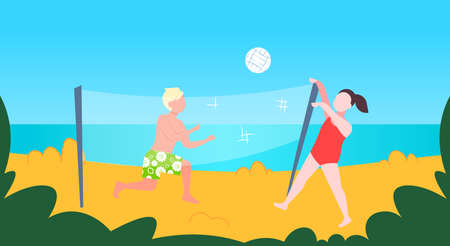 man woman playing volleyball couple with volley ball having fun on sea beach active lifestyle summer vacation concept cartoon characters full length seaside horizontal vector illustration