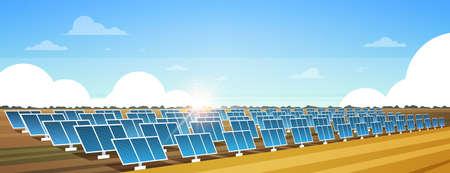solar energy panel fields renewable station alternative electricity source concept photovoltaic district sunrise landscape background horizontal banner flat vector illustration Archivio Fotografico - 124416307