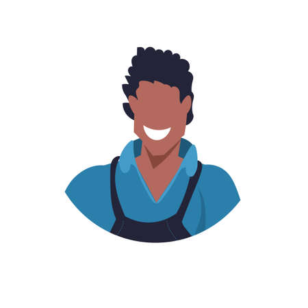 african master or repairman face avatar mechanic repair service worker professional occupation concept happy man in uniform cartoon character portrait flat white background vector illustration