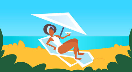 african american girl in white swimsuit sunbathing on beach drinking cocktail on sunbed summer vacation relax concept female cartoon character full length flat horizontal vector illustration