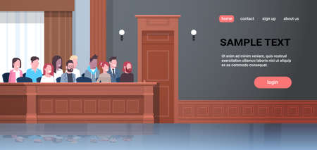 men women sitting jury box court trial session mix race people in judging process modern courtroom interior portrait horizontal copy space vector illustration