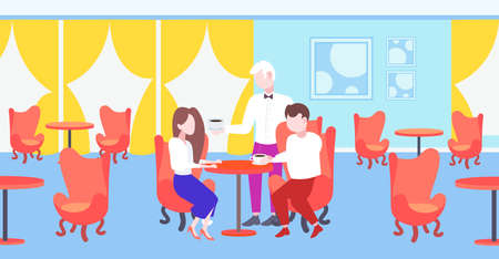 waiter serving coffee to visitors couple sitting at restaurant table modern cafe interior staff hospitality concept horizontal flat full length vector illustration 일러스트