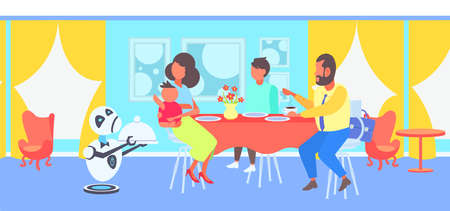 robot waiter serving food to visitors family sitting at restaurant table artificial intelligence concept modern cafe interior horizontal flat full length vector illustration 스톡 콘텐츠 - 124416332